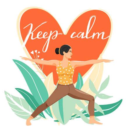 Sporty woman practicing virabhadrasana warrior yoga pose. Stylish typography slogan design