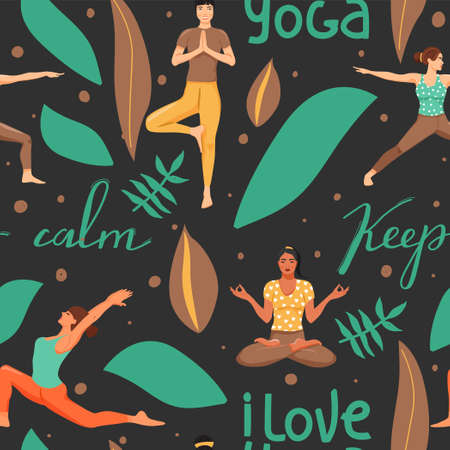 Seamless pattern with women in different yoga poses. Healthy lifestyle and yoga concept. People, leafs and lettering. Texture for textile, wrapping paper and packaging. Vector. Illustration