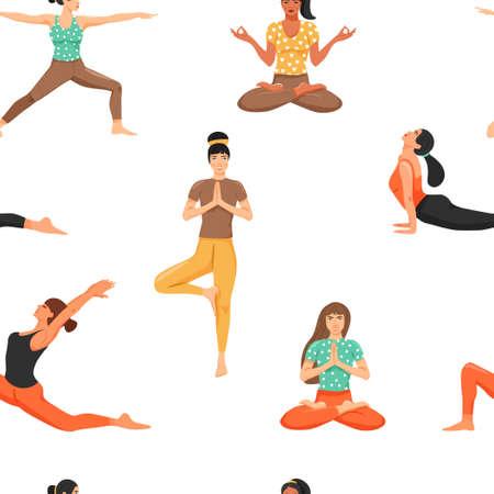 Seamless pattern with women in various yoga poses. Healthy lifestyle and yoga concept. Texture for textile, wrapping paper and packaging. Vector on white background. Ilustración de vector