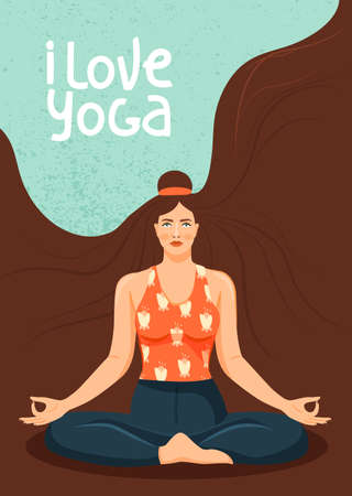 Young woman practicing yoga. Cute girl sitting in lotus posture and meditating. Stylish typography slogan design
