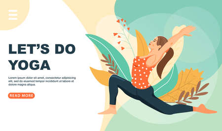 Healthy lifestyle and yoga concept. Cute girl sitting in virabhadrasana warrior yoga pose. Website landing page design template. Vector illustration. Illustration