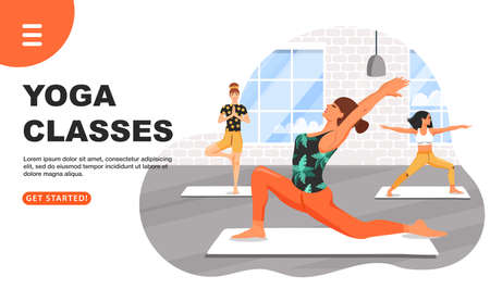 Healthy lifestyle and yoga concept. Sporty women practicing yoga. Girls doing various yoga poses. Fitness class. Website landing page design template. Cartoon vector illustration.