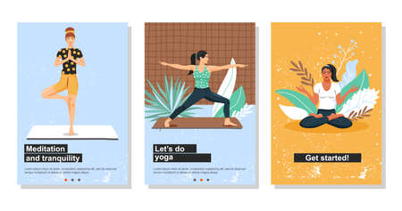 Healthy lifestyle and yoga concept. Young women practicing yoga. Set of web page template. Cartoon vector illustration.