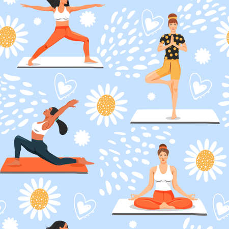 Seamless pattern with women in various yoga poses. Healthy lifestyle and yoga concept. Texture for textile, wrapping paper and packaging. Vector on abstract background.