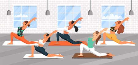 Group of young sporty women practicing yoga lesson. Girls doing virabhadrasana warrior yoga pose. Fitness class. Cartoon vector illustration. Illustration