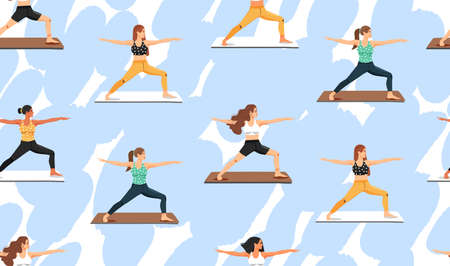 Seamless pattern with women practicing yoga. Girls doing virabhadrasana warrior yoga pose. Healthy lifestyle. Texture for textile, wrapping paper and packaging. Vector on abstract background. Иллюстрация