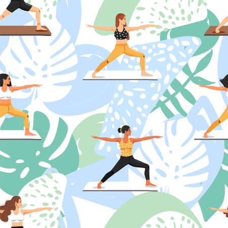 Seamless pattern with women practicing yoga. Girls doing virabhadrasana warrior yoga pose. Healthy lifestyle. Texture for textile, wrapping paper and packaging. Vector on abstract background. Illustration