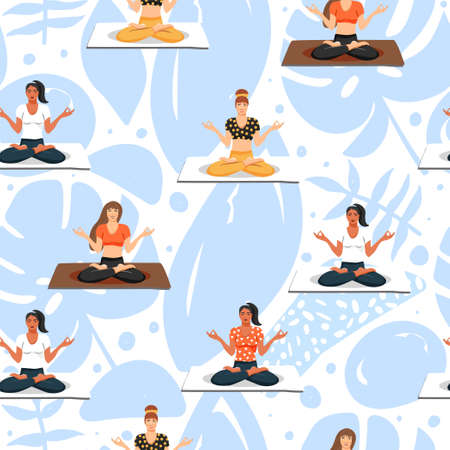 Seamless pattern with women in lotus yoga poses. Healthy lifestyle and yoga concept. Texture for textile, wrapping paper and packaging. Vector on abstract background.