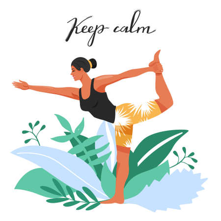Sporty woman practicing yoga and standing in lord of the dance exercise. Girls doing Natarajasana yoga pose. Vector illustration on white background.