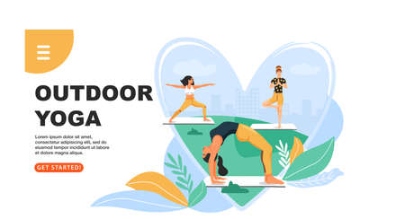 Sporty women practicing yoga in the park. Girls standing in various poses. Website landing page design template. Vector.