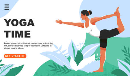 Sporty woman practicing yoga and standing in lord of the dance exercise. Girls doing Natarajasana yoga pose. Website landing page design template. Vector.