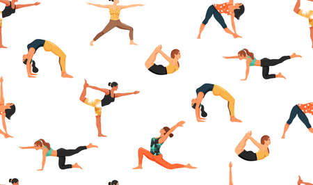 Seamless pattern with women in various yoga poses. Healthy lifestyle and yoga concept. Texture for textile, wrapping paper and packaging. Vector on white background.
