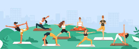 Sporty women practicing yoga in the park. Girls standing in various poses. Vector illustration with copy space.