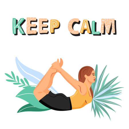 Sporty woman practicing yoga and standing in bow pose. Girl doing Dhanurasana yoga pose. Stylish typography slogan design