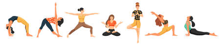 Young women practicing yoga. Set of cute girls doing various yoga posture. Cartoon vector illustration on white background.