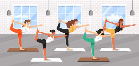 Group of young sporty women practicing yoga lesson. Girls standing in lord of the dance exercise. Natarajasana yoga pose. Fitness class. Cartoon vector illustration.