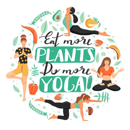 Healthy lifestyle and yoga concept. Sporty women practicing yoga. Composition with vegetables, people and lettering. Stylish typography slogan design