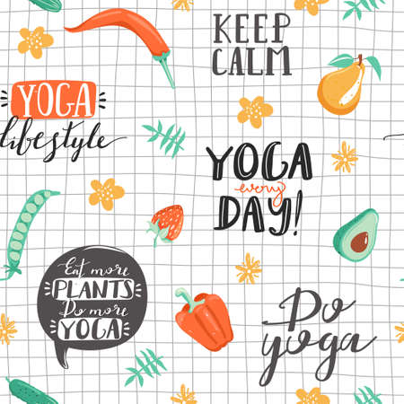 Seamless pattern with lettering phrases, leaves, flowers, vegetables and fruit. Healthy lifestyle and yoga concept. Texture for textile, wrapping paper and packaging. Vector on checkered background. Illustration