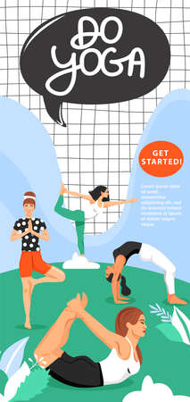 Sporty women practicing yoga in the park. Girls standing in various poses. Banner design template. Vector.