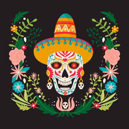 Dia de Los Muertos or Day of the Dead composition. Traditional Mexican festival. Sugar mexican skull with floral decoration. Illustration for poster, banner, card, invitation etc. Colorful vector template. Vetores