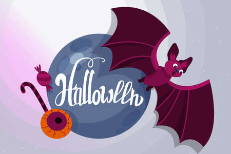Halloween holiday greeting card. Halloween vector composition with bat and halloween sweets. Vector illustration. Trick or Treat Concept. Vettoriali