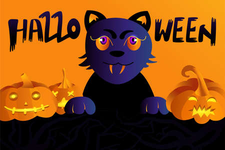 Halloween holiday greeting card with cat, pumpkins and lettering. Vector Illustration. Trick or Treat Concept. Vettoriali