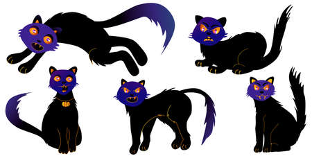 Set of halloween cats on a white Background. Vector illustration in modern style. Trick or Treat Concept.