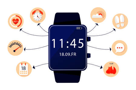 Illustration and infographic of sport tracker. Fitness bracelet and set flat icon watches monitoring heart rate, calories, steps, and other options. Vector flat illustration.