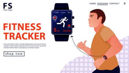 Sport concept with fitness tracker. Man running with smart watch. Landing page template for a store. Vector flat illustration.