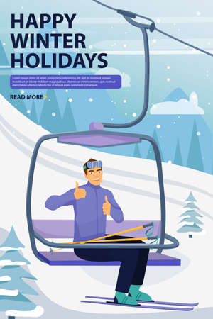 Winter vacations activity concept. Happy man rise to the ski lift elevator and giving thumbs up sign. Ski resort season is open. Vector illustration with copyspace. 向量圖像