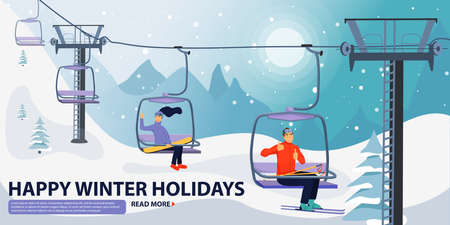 Winter vacations activity concept. Happy people rise to the ski lift elevator. Pretty woman waving hand and handsome man giving thumbs up sign. Ski resort season is open. Vector illustration with copyspace.