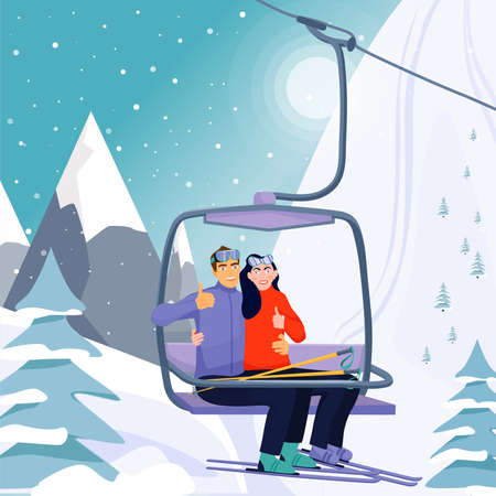 Winter vacations activity concept. Happy couple rise to the ski lift elevator. Pretty woman and her boyfriend giving thumbs up sign. Ski resort season is open. Vector illustration. 向量圖像