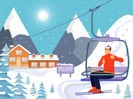 Ski resort concept with wooden house, ski lift and snowy mountains. Happy man rise to the ski lift elevator and giving thumbs up sign. Welcome to ski resort. Vector illustration.