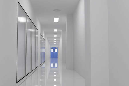 corridors: Corridors For Clean room pharmaceutical plant Stock Photo