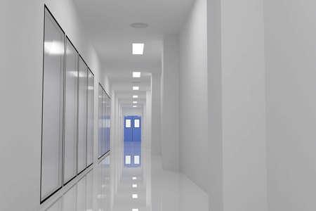 corridors: Corridors For Clean room pharmaceutical plant Stock Photo