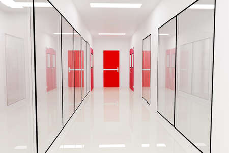 corridors: Corridors Emergency exitFor Clean room pharmaceutical plant