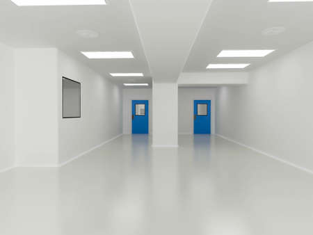 pharmaceutical factory: 3D render of interior Clean Room in pharmaceutical factory Stock Photo