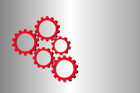 red abstract vector cogs, gears isolated on white background