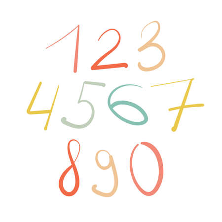 Hand drawn vector design set of numbers isolated on white background.