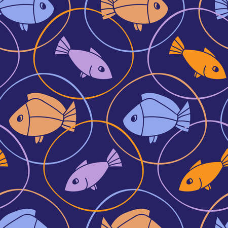 Seamless vector colorful pattern with fish in bubbles on blue background. Ilustração