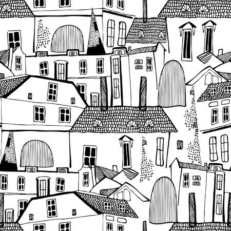 seamless pattern black and white illustration design of Old Town Tallinn