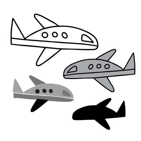 Isolated vector set of airplane, lined, silhouette and grey on white background
