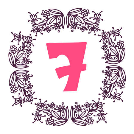 Seamless vector design number 7 card with floral ornament frame on white