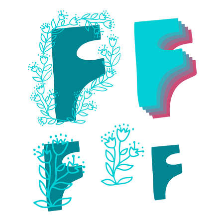 isolated set of letter F of English alphabet with ornamental floral decor Illustration