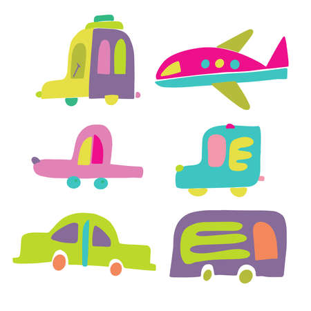 Isolated vector set of colorful toy cars, bus and airplane on white background