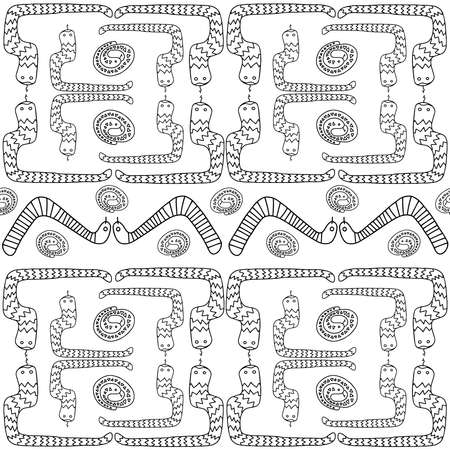 Seamless vector black and white pattern with decorative ornament with snakes