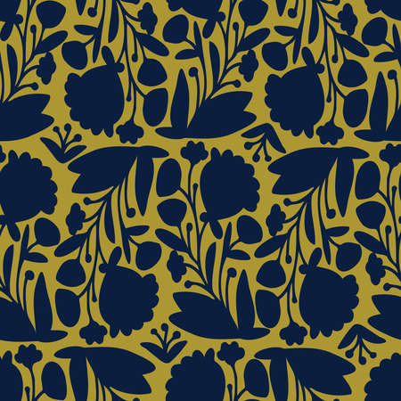 Seamless vector pattern of ornamental lined abstract flowers on dark background
