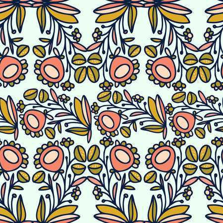 Seamless vector pattern of ornamental lined abstract flowers on white background  イラスト・ベクター素材