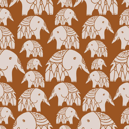 Seamless vector design pattern with lined elephants on brown background 일러스트