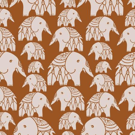 Seamless vector design pattern with lined elephants on brown background Ilustração